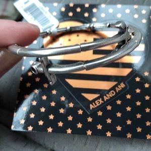 NWT Alex & Ani dual anchor silver bracelet